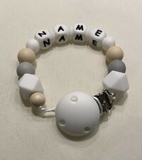 Personalised Silicone Dummy Clip - Neutral Colour- Pacifier Clip - New Baby -
