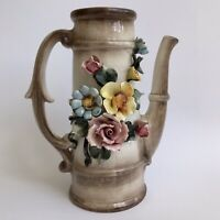 CAPODIMONTE Porcelain Flowers Pitcher Jug Pink Rose Brown Flower Vase Italy Home
