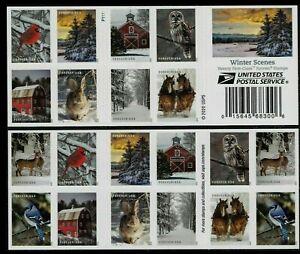 WINTER SCENES US SCOTT # 5531-5540 CARDINAL OWL HORSES 20 FOREVER STAMP PANE NIP