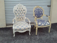 Pair Of Vintage Shabby Chic Hollywood Regency White & Blue Upholstery Arm Chairs