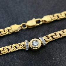 Gold Collier 585er Gelbgold 750/- 43 cm mit Brillanten ca. 0,33 ct. H/P