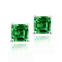 925 Silver 1.5ct Created Emerald Square Stud Earrings, 5mm