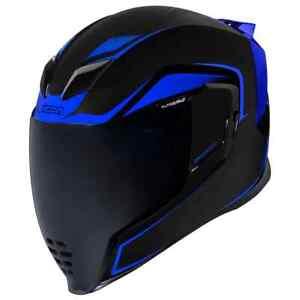 New ICON AIRFLITE Crosslink Full Face Motorcycle Helmet Black Blue Adult Medium