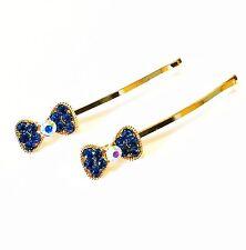 USA Bobby Pin Rhinestone Crystal Hair Clip Hairpin Wedding Bow knot BLUE NEW 1