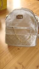 bebe Gina Gold Velvet Large Backpack Purse Bag Quilted Gold Chain MSRP $109