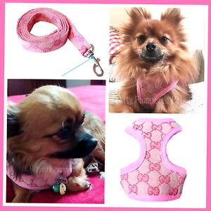 XXXS XXS XS Small Breeds Pink Harness Coat +LEASH Chihuahua Puppy Dog Toy Kitten
