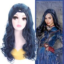 Descendants 2 Evie Cosplay Wig Blue Ombre Color Wavy Curly Long Styled Wigs