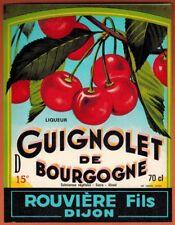 Etiquette de Vin - Liqueur - Guignolet de Bourgogne - Rouviere-Dijon - Réf.n°395