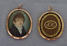 Portrait Miniature Gentilhomme Médaillon Or Double Face Cheveux Tressés XVIIIè