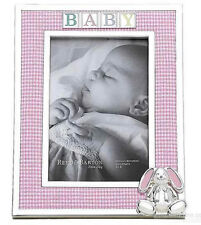 "Reed & Barton Silverplate Baby Frame 4x6"" Pink Gingham Fabric, 3D Bunny 2746 New"
