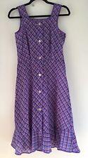 Vintage Plaid Check Dederon Nylon Frill Semi Sheer Apron Smock Pinafore Dress 8