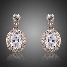 Rose Gold Earrings Clear Cubic Zirconia earrings Bridal Drop Fashion CZ Earrings
