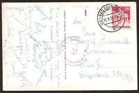 s1653) Fußball Autogrammkarte Spieler der Austria Wien 15.8.1950 nach Wien