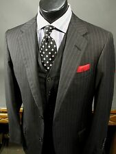 OXXFORD CLOTHES 2 Button Three Piece Wool Suit 40R, Charcoal Gray, Striped
