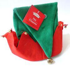 New Christmas Felt Costume Elf Hat w/ Bells Red & Green Stocking Holiday Hat Cap