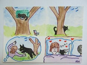 ACEO Original Watercolor Cat Black Kitty Ebonys Story Rescued Love No 205 by KEK