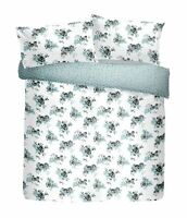 HAND PAINTED STYLE FLORAL FLOWERS WHITE COTTON BLEND SUPER KING DUVET COVER