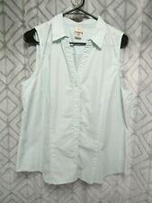 Covington Top Size XL Green Striped Button Front Sleeveless V Neck Casual Career