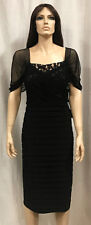 Adrianna Papell Black Lace and Jersey Shutter Pleat Dress Plus Sz. 18 NWT $178