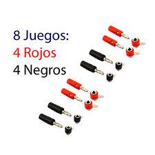 8 Juegos Conectores Banana 8 Conector Macho y 8 Hembra 4mm Rojo y Negro