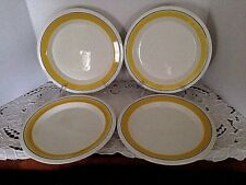 "ARABIA FAENZA YELLOW LUNCHEON PLATES FINLAND 9 1/2"" EXCELLENT SET OF 4"
