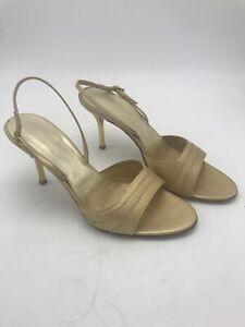 ST JOHN ITALY Gold Leather Sling Back Open Toe Dress Heels Sz 7 1/2 B Summer