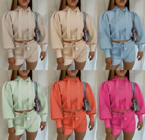 Women's Cropped Ribbon Hooded Puff Sleeve Jumper Top Shorts Two Piece Co ord Set