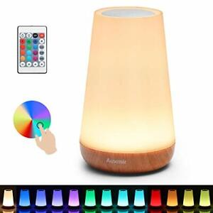 Auxmir Bedside Table Lamp, LED Touch Night Light, USB Rechargeable, Remote