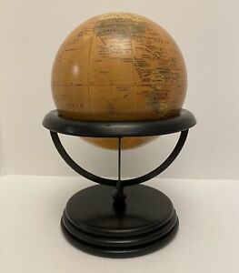 """World Wooden Desk Globe Made In India Globe Office Decor 14"""" Tall Retail $79.00"""
