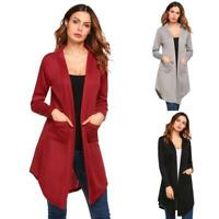 Women Casual Long Sleeve Solid Open Front Knit Cardigan EH7E 02