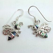 Bee Drop Earrings Solid Sterling Silver. Abalone Paua Shell, New. Actual Ones