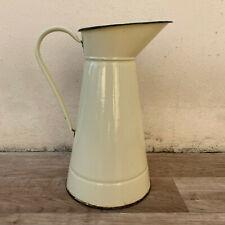 Vintage French Enamel pitcher jug water enameled beige 0603193