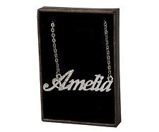 """Collar de nombre """"Amelia"""" - de 18 quilates chapado Oro Blanco Plateado-Elegante Moda identidad Regalos"""
