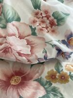 Vtg Lady Pepperell Full Double 3 Pc Bed Sheet Set Floral Shabby Chic pink purple