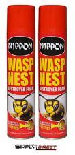 2x Nippon Wasp Nest Destroyer Foam Killer Spray covers 3metres 300ml