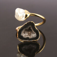 Natural Black Geode Druzy Keshi Pearl Gold Plated Double Stone Adjustable Ring