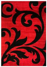 Super Area Rugs Contemporary Floral Modern Damask Area Rug in Black & Red