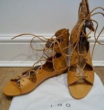 IRO Tan Leather XIRI Gold Studded Scallop Lace Up Flat Gladiator Sandals Shoes
