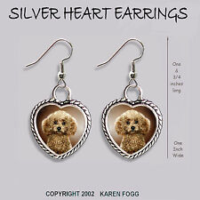 POODLE DOG Toy Mini Chocolate - HEART EARRINGS Ornate Tibetan Silver