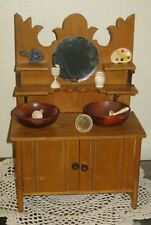 ANTIQUE MINIATURE WOOD DOLL BUFFET W/MIRROR AND SHELVES FOR FRENCH BISQUE
