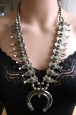 Box Bow Squash Blossom Necklace 1930's Navajo Royston Turquoise Sterling Silver