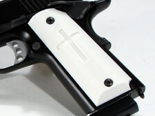 1911 Grips Full Size Ambi Safety Cross White Colt Kimber Springfield