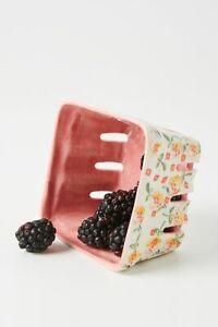 Anthropologie Floral Ceramic Berry Basket