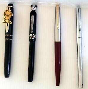Lot of VTG Fountain Pens & TAZ Devil Pen, Mickey Mouse, Parker, Aurora 14K Nib