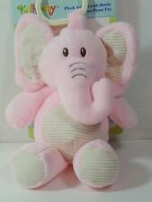 """New 11"""" Kellytoy Plush Pink ELEPHANT Rattle w/ Crinkle Ears Clip-On Hang Toy"""