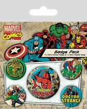 MARVEL RETRO SPIDERMAN Badge Pack of 5 Safety Pin Backed Badges