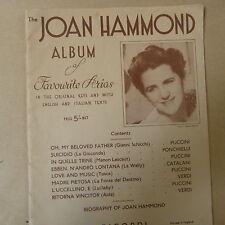 Songbook la JOAN Hammond ALBUM DI Favourite Arias, INGLESE / TESTO ITALIANO