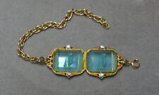 VTG Art Nouveau Aqua Crystal Aquarius Water Nymph Intaglio Signed Czech Bracelet