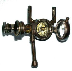 "Antique 3"" Brass Pocket Binocular Folding Instrument With Compass Telescope Gift"
