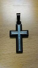1/10ct Diamond Cross Necklace, Stainless Steel, Black